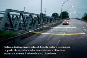ADAS. Radar, telecamere, controllo velocità e distanza, frenata automatica.