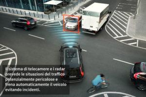 ADAS. Radar e telecamere. Previsione incidenti e frenata automatica.